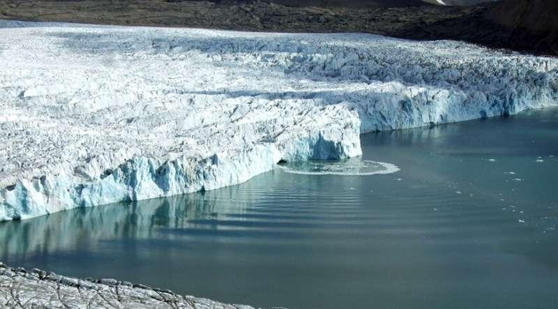 Scientists use underwater microphones to study calving Arctic glacier