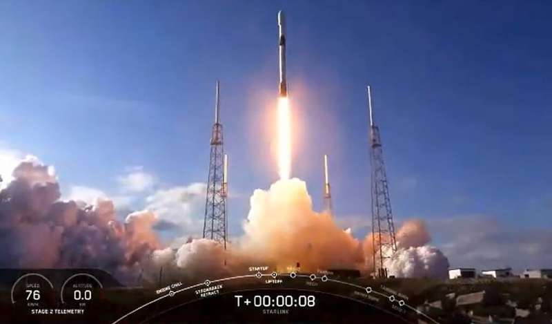 This NASA TV video frame grab shows the SpaceX Falcon 9 fourth Starlink constellation as it launches at Cape Canaveral, Florida