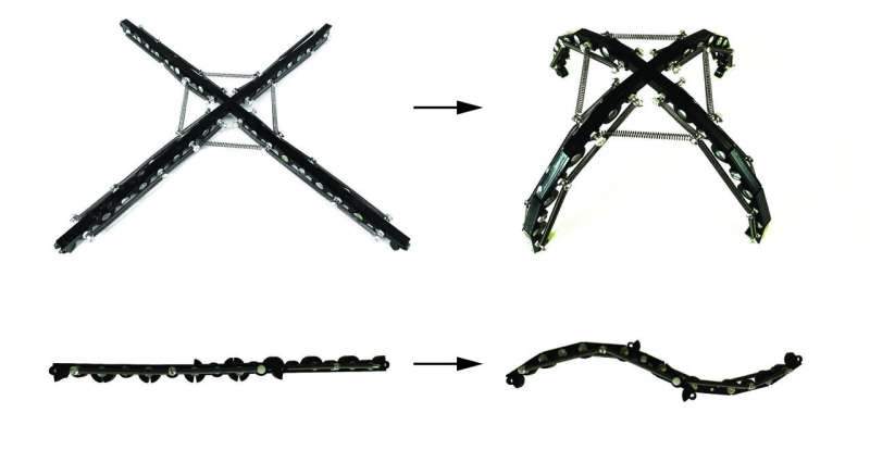 Harnessing the domino effect for deployable structures