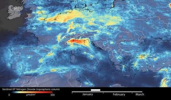 Coronavirus: Nitrogen dioxide emissions drop over Italy