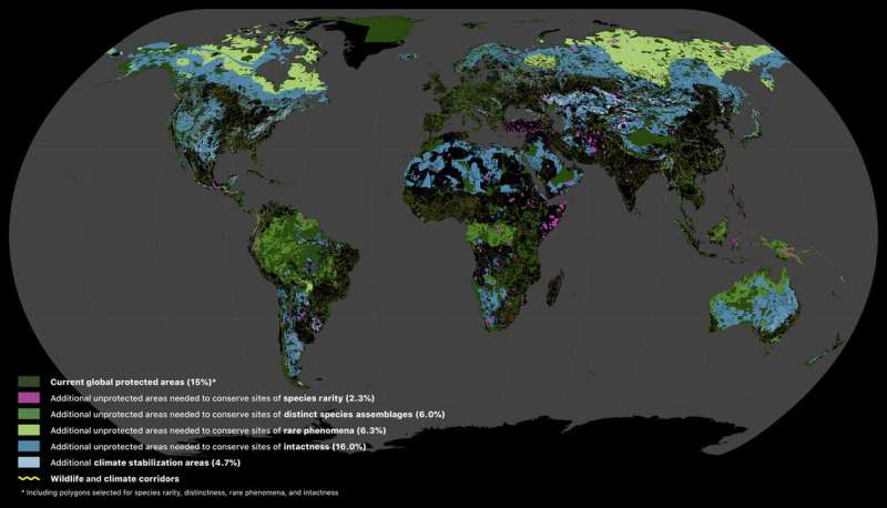 Global Safety Net maps land areas that need to be protected to safeguard biodiversity and stem carbon emissions