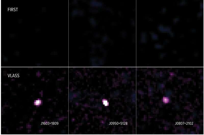 Sky survey reveals newborn jets in distant galaxies