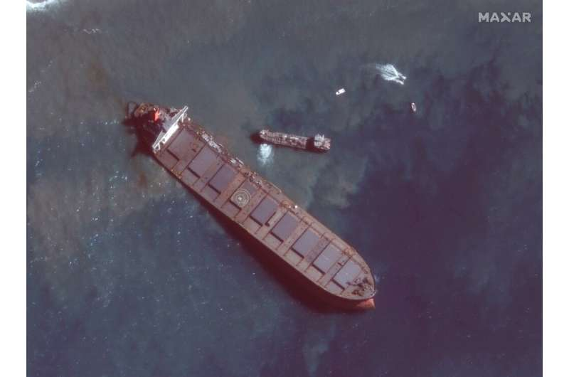 Satellite image showed the stricken tanker off the southeastern coast of Mauritius (picture courtesy of Maxar Technologies)