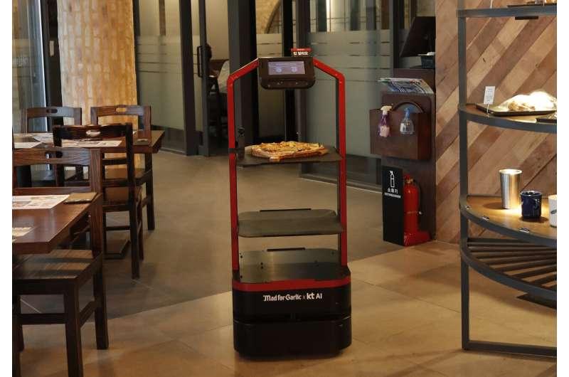 AI Robots serve restaurant customers in South Korea