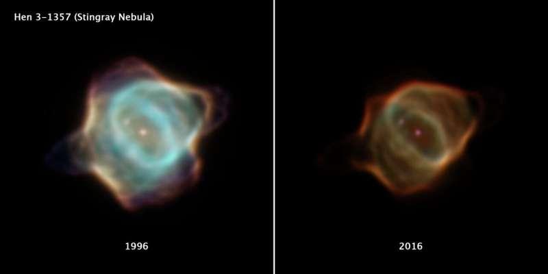 Hubble captures unprecedented fading of Stingray nebula