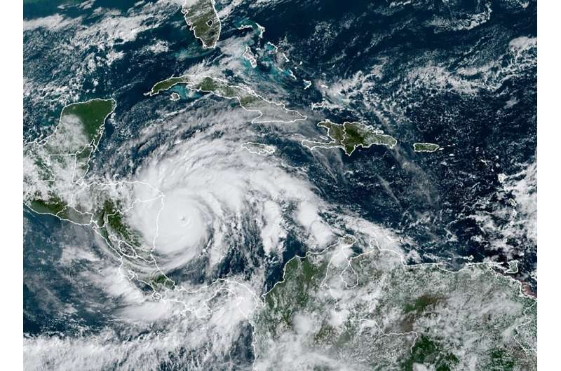Hurricane Iota on November 16, 2020 as it approaches Central America