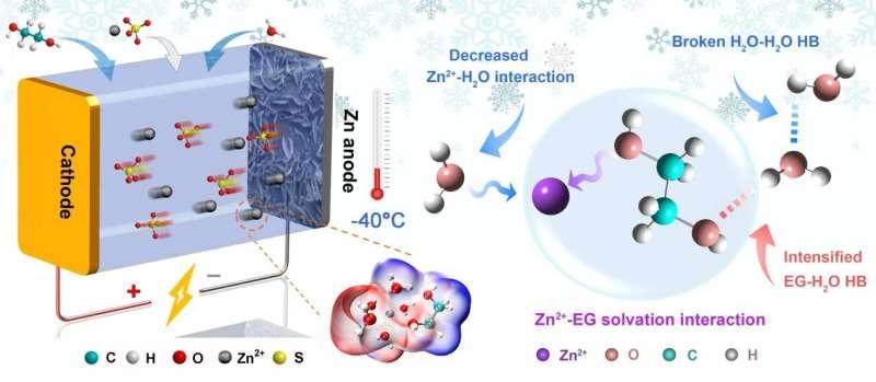 Scientists develop low-temperature resisting aqueous zinc-based batteries