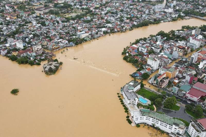 An aerial view of Hue, showing the city partially submerged by floodwaters