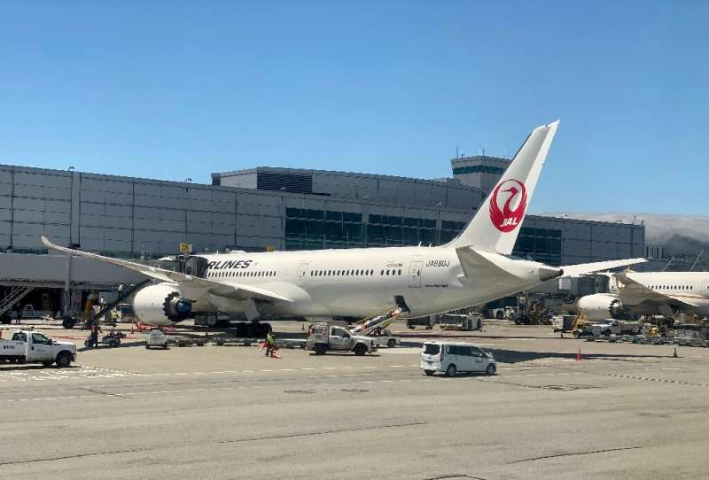 A Boeing 787 of Japan Airlines (JAL) at the gate at San Francisco International Airport (SFO) on July 30, 2020: Boeing has repor