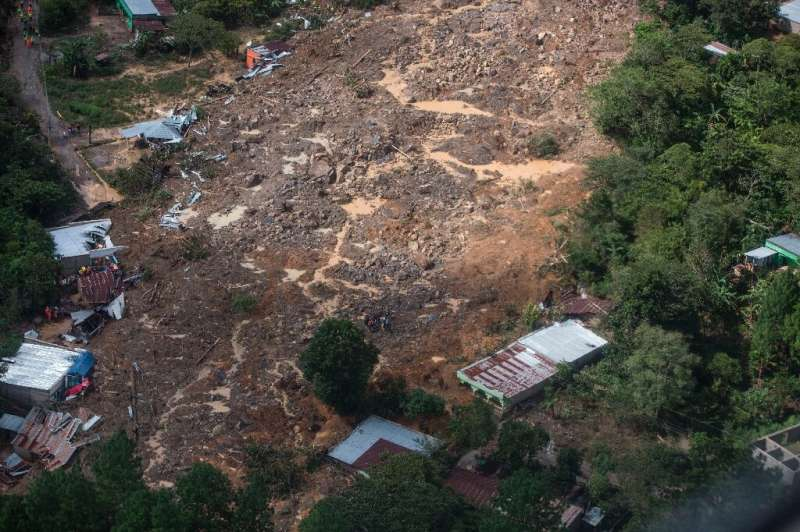 Aerial view of a mudslide caused by Eta and where it is estimated that dozens of people died in the village of Queja, in San Cri
