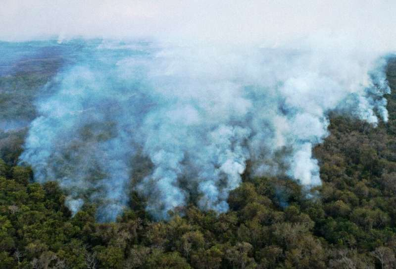 Aerial view showing large scale forest fires in Pocone, Pantanal region (the largest tropical wetlands in the world), Mato Gross