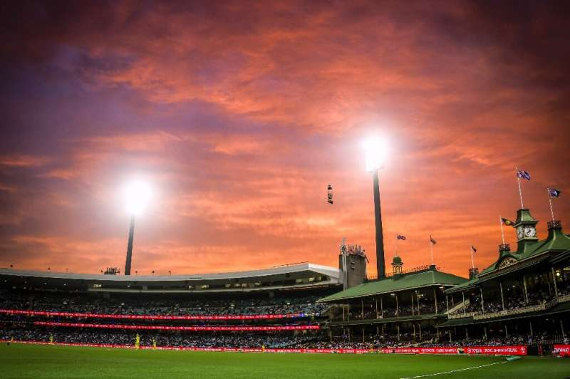 A fiery sunset over the Members' Stand during the one-day cricket match between India and Australia at the Sydney Cricket Ground