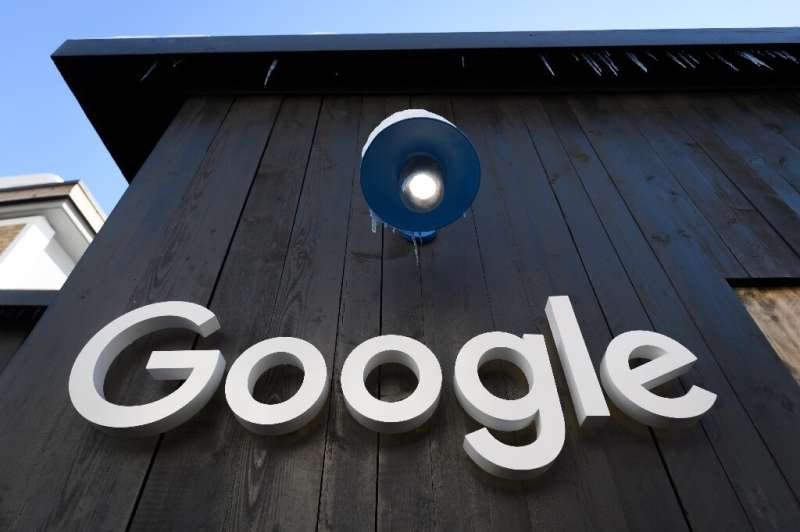 A Google logo is seen on the brand's stand ahead of the annual meeting of the World Economic Forum (WEF) in Davos, on January 20
