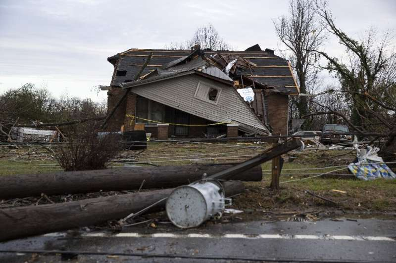 A home is shown destroyed by high winds from one of several tornadoes that tore through the state overnight on March 3, 2020 in