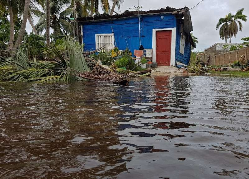 A house is surrounded by floodwaters after the passage of Hurricane Iota in San Andres, Colombia, on November 17, 2020
