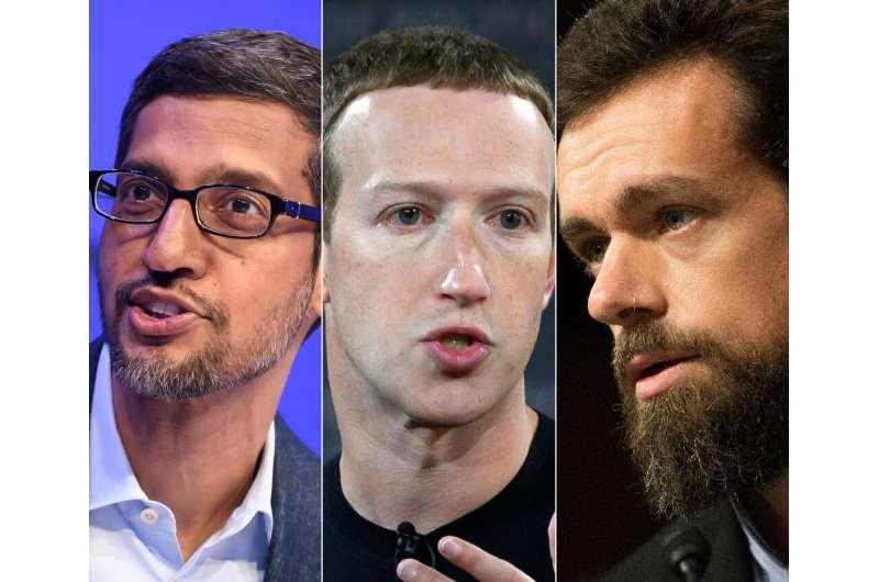 Alphabet CEO Sundar Pichai, Facebook founder Mark Zuckerberg and Twitter CEO Jack Dorsey are set to testify at a Senate hearing