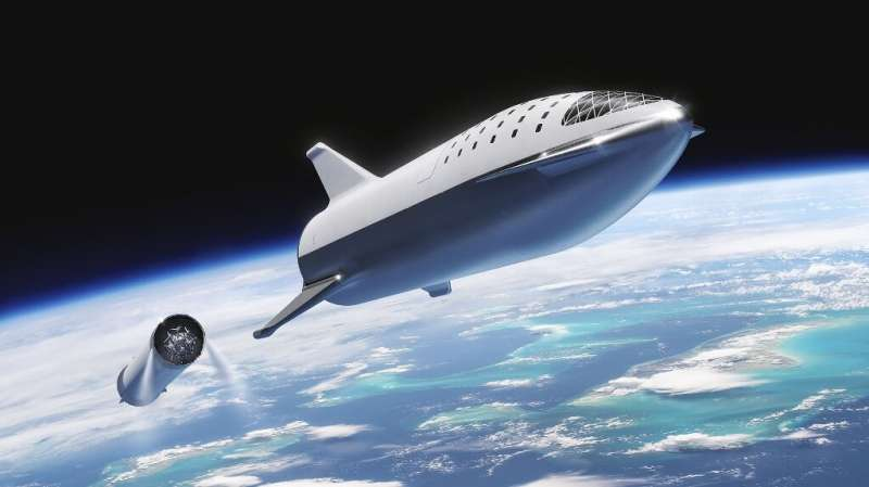 An artist's illustration of SpaceX's Starship spacecraft and Super Heavy rocket (collectively referred to as Starship) which the