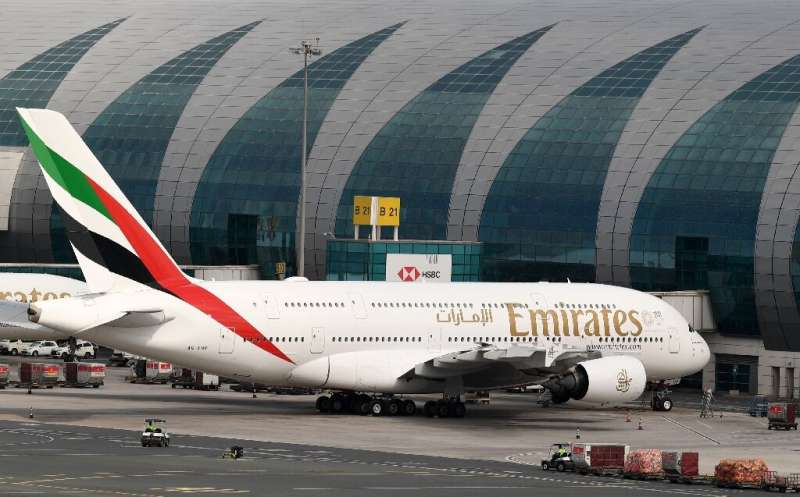 An Emirates A380 sits grounded at Dubai after the airline suspended all passenger operations amid the coronavirus pandemic
