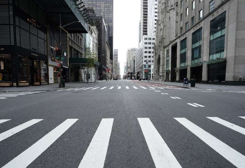An empty 5th Avenue, usually one of the busiest streets in New York, is seen in Manhattan April 27, 2020