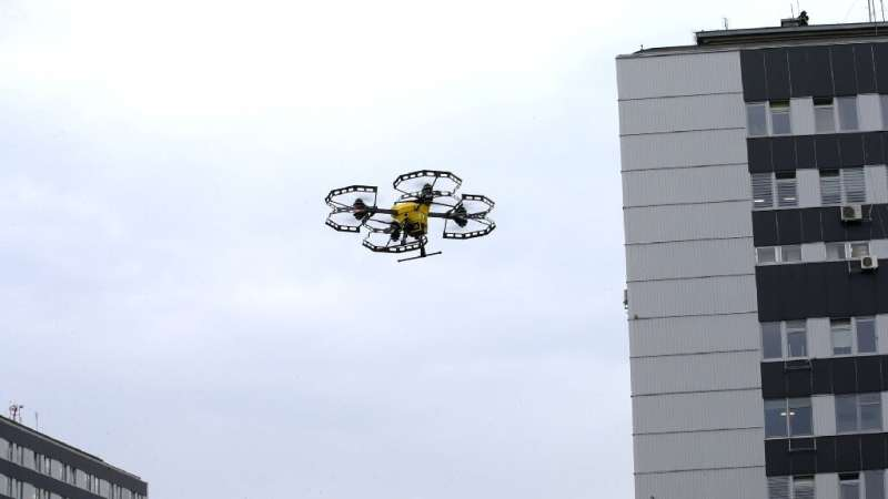 A P-art Studio picture shows a Hermes V8MT medical drone made by Spartaqs transporting coronavirus tests between two Warsaw hosp