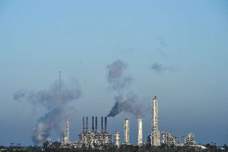 A petroleum refinery in Lake Charles, Louisiana on October 10, 2020