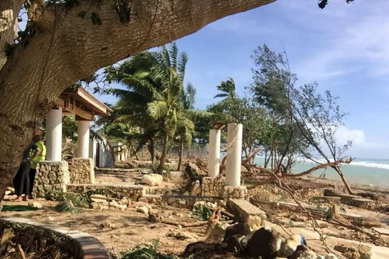 A picture taken and released by the Tonga Police on April 9, 2020 shows damage to a tourist resort caused by Tropical Cyclone Ha