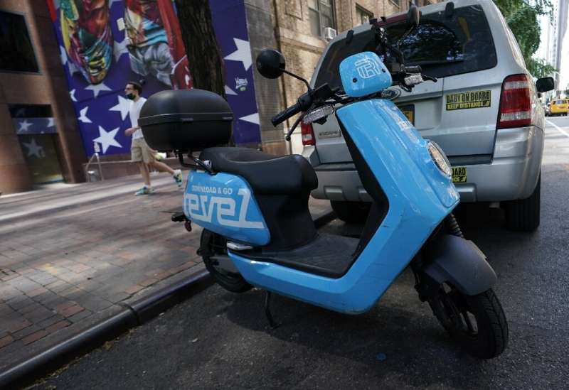 A Revel ridesharing moped is seen parked in midtown New York City July 28, 2020, after the company announced today it is suspend