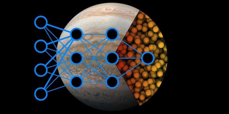 Atomistic modelling probes the behavior of matter at the center of Jupiter