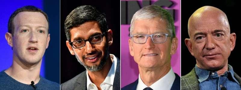 Big tech CEOs (L-R) Mark Zuckerberg of Facebook, Sundar Pichai of Google, Tim Cook of Apple and Jeff Bezos of Amazon are schedul