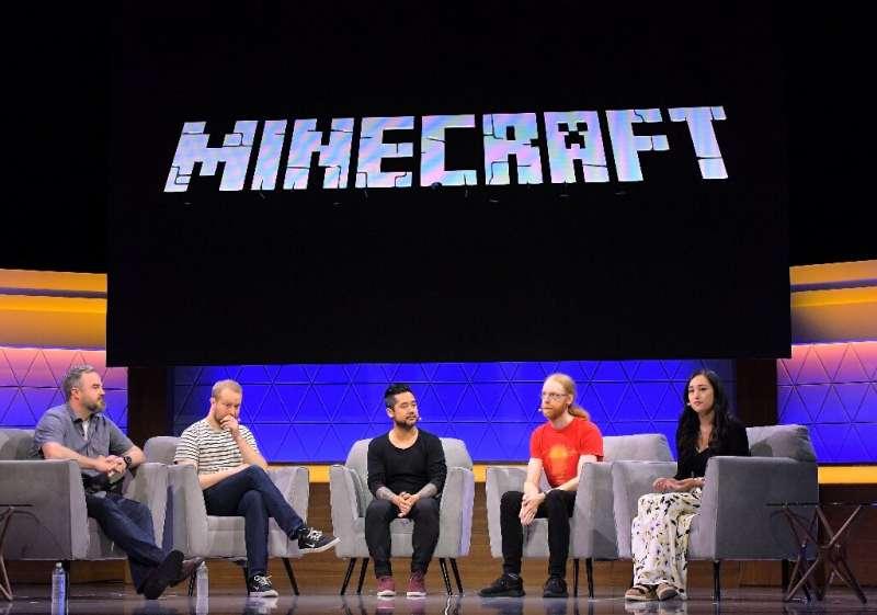 Brad Shuber, Mans Olsen, Patrick Liu, Jens Bergensten and Rebecca Gordius speak at the 'Minecraft: The Next Ten Years' panel dur
