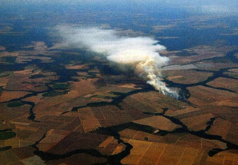 Brazilian agribusiness faces accusations of razing the Amazon—here, a large fire burns in soybean fields near Lucas do Rio Verde