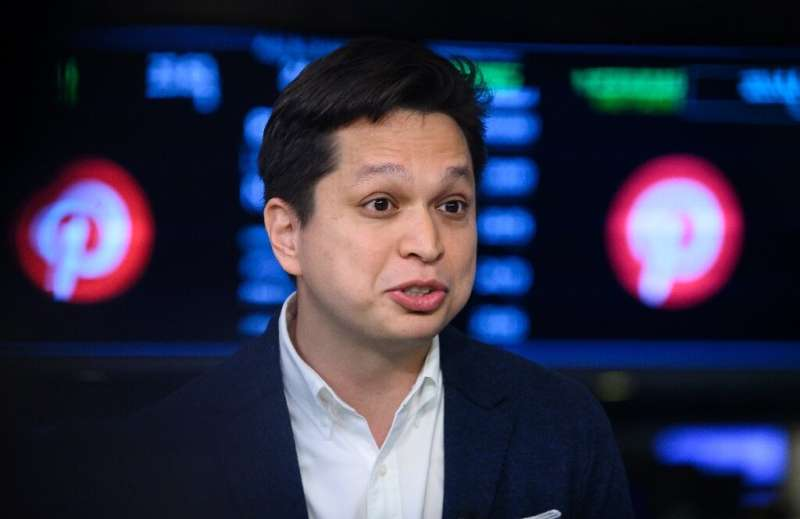 Chairman, co-founder and CEO of Pinterest, Ben Silbermann, speaks as the company makes its market debut on April 18, 2019