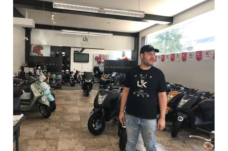 Chris Benson, general manager of the Unik Moto shop in Long Island City on June 30,2020