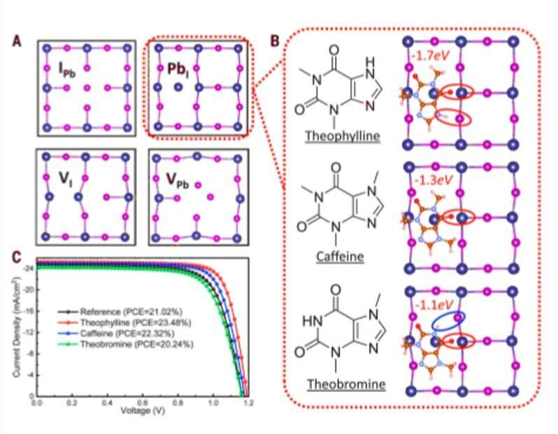 Constructive molecular configurations for surface-defect passivation of perovskite photovoltaics