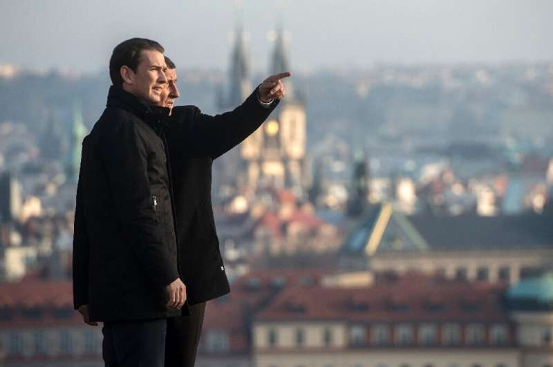 Czech Republic's Prime Minister Andrej Babis and his Austrian counterpart Sebastian Kurz before a meeting on January 16, 2020 in