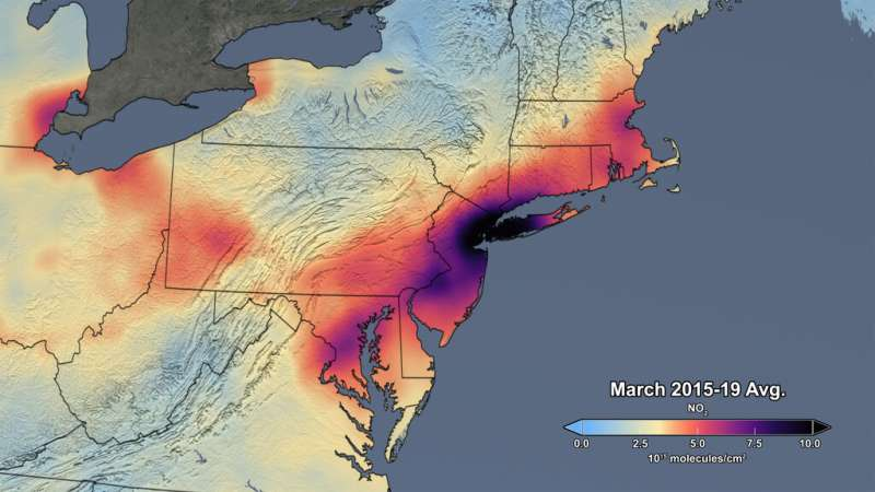 Data shows 30 percent drop in air pollution over northeast U.S.