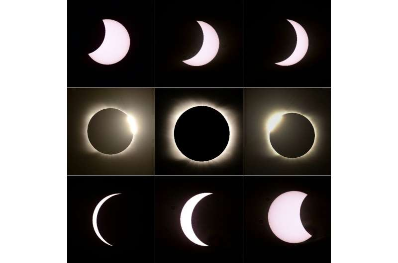 Ddifferent stages of the total solar eclipse as seen from Piedra del Aquila, Neuquen province, Argentina