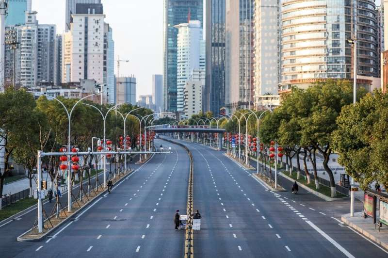Deserted streets in Wuhan, China reflect an economy at a standstill