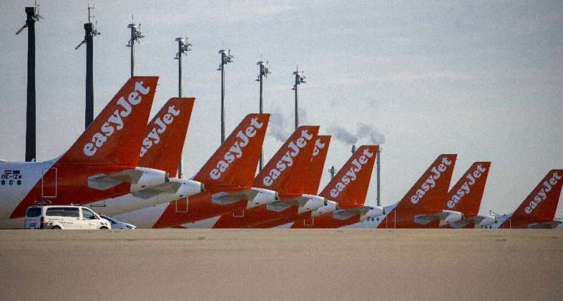 Easyjet planes stand idle as the company reported its first ever annual loss due to the coronavirus pandemic