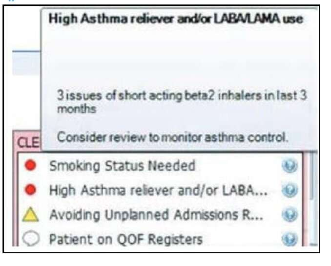 Electronic alert reduces excessive prescribing of short-acting asthma relievers