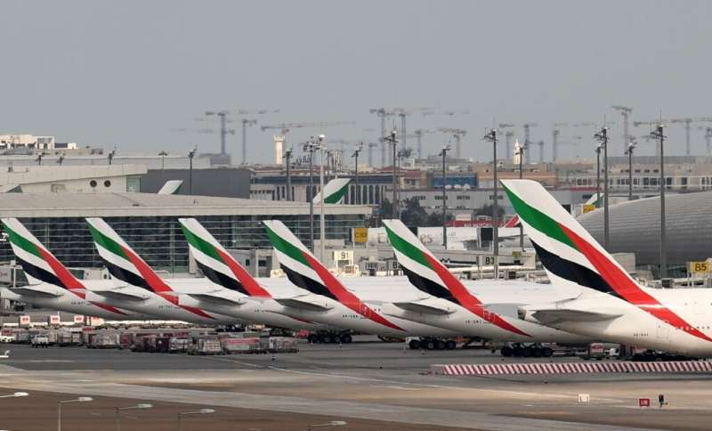 Emirates aircraft grounded at Dubai international Airport after the carrier suspended all passenger operations amid the COVID-19