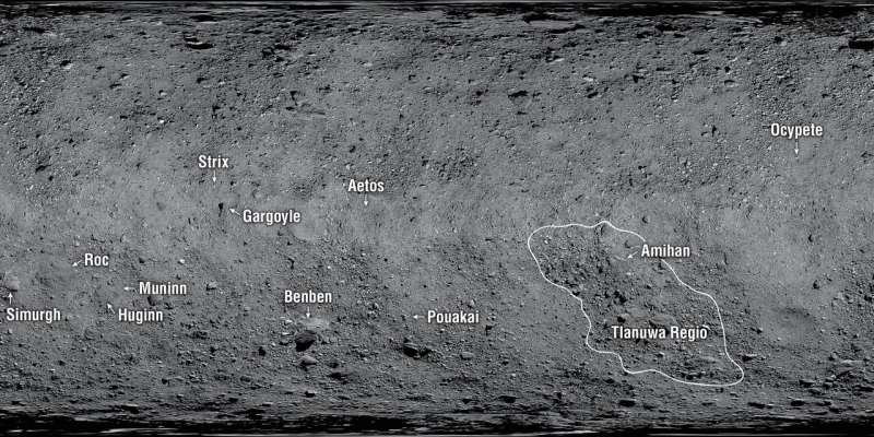 First official names given to features on asteroid Bennu
