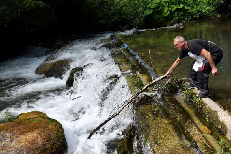 Fish farmer Muhamed Sarajlic removes debris from the river Neretvica