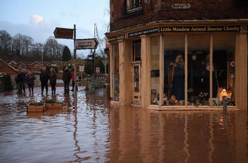Five 'severe' flood warnings remain in place around the River Teme in Worcestershire in western England