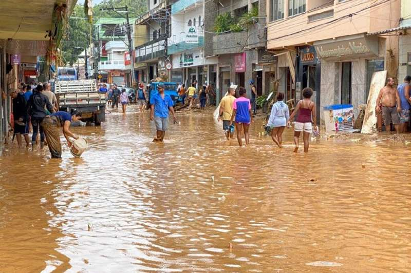 Handout picture released on January 18, 2020 by Espirito Santo State Government showing a flooded street after heavy rain and fl