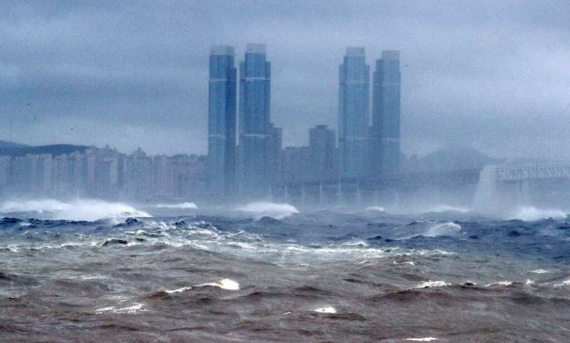 High waves batter the coastline of Busan as Typhoon Haishen approaches