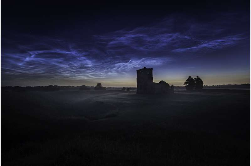 Image: Noctilucent clouds (NLC) over Knowlton Church in Dorset