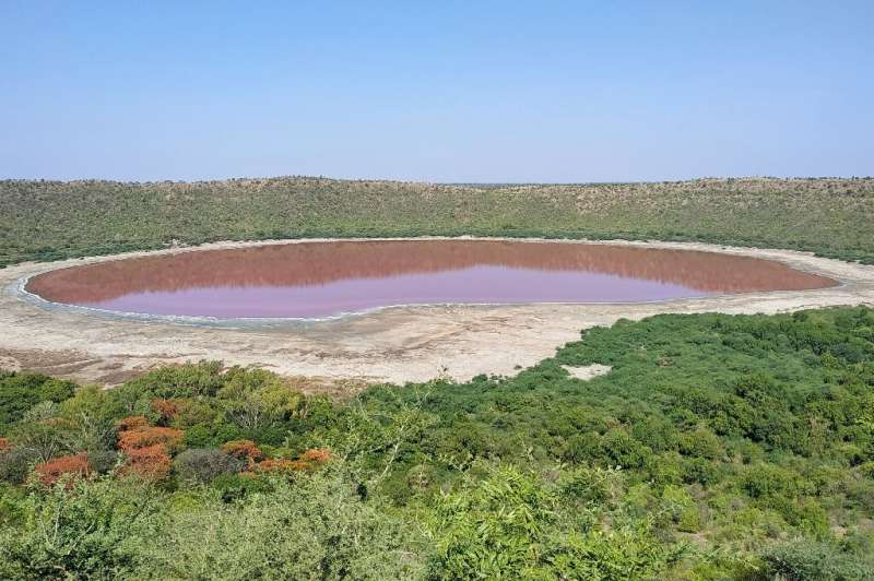 India's Lonar lake, which was formed 50,000 years ago after a meteorite hit Earth, has turned pink, apparently due to algae