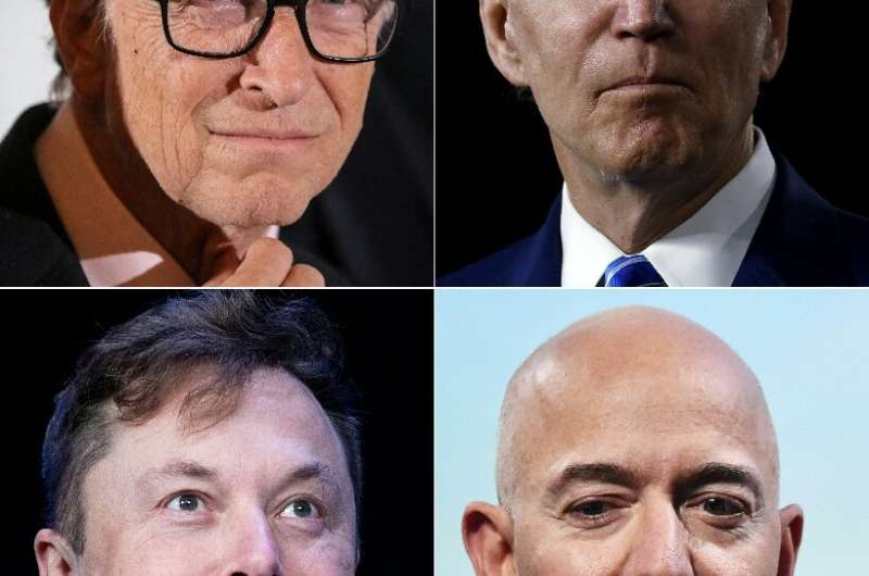 L-R, top to bottom: Microsoft founder Bill Gates, Democratic presidential candidate Joe Biden,SpaceX founder Elon Musk and Amazo