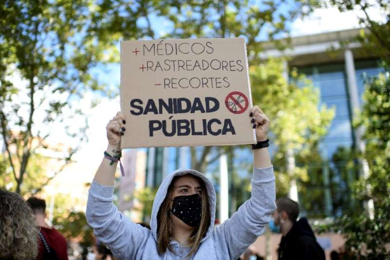 Madrid demonstrators complain the regional government isn't doing what's needed on public health